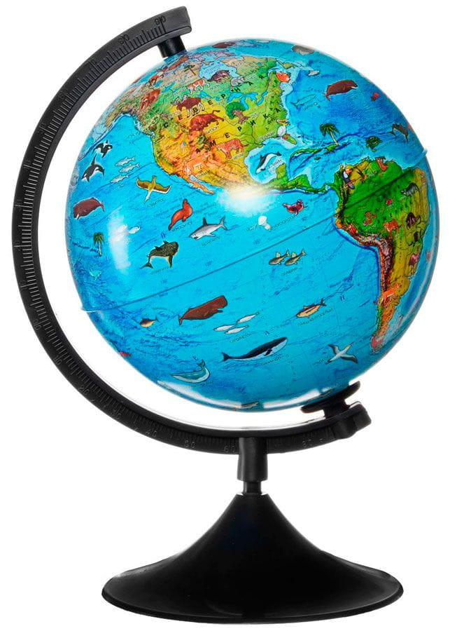 ГеоДом Глобус Земли зоогеографический с подсветкой 210 мм Классик глобус земли ландшафтный рельефный на треугольнике с подсветкой диаметр 210 мм