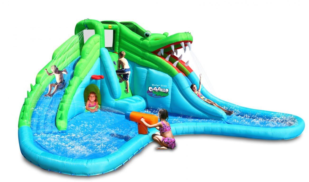 Надувная водная горка Крокодил 9517
