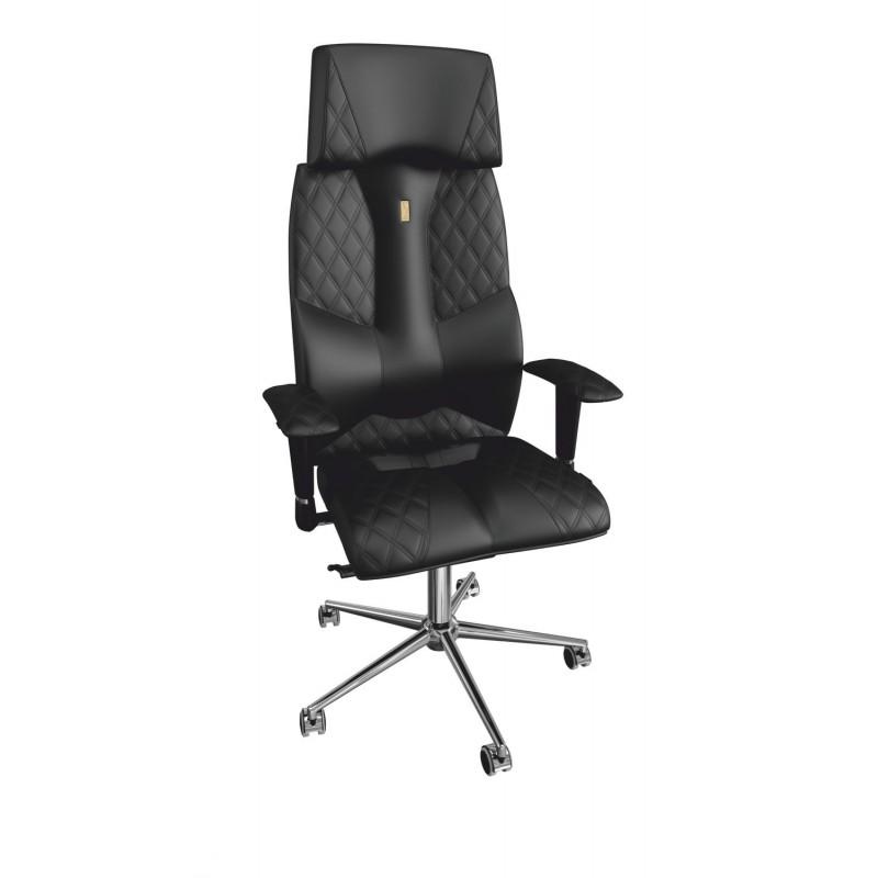 Офисное кресло Kulik System Business с 3D подголовником Металл Черный Серебро