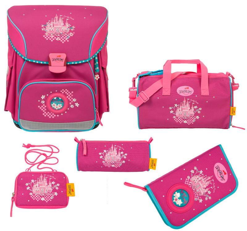 Школьный ранец X-Light Сказочный замок, спортивная сумка, два пенала и кошелек
