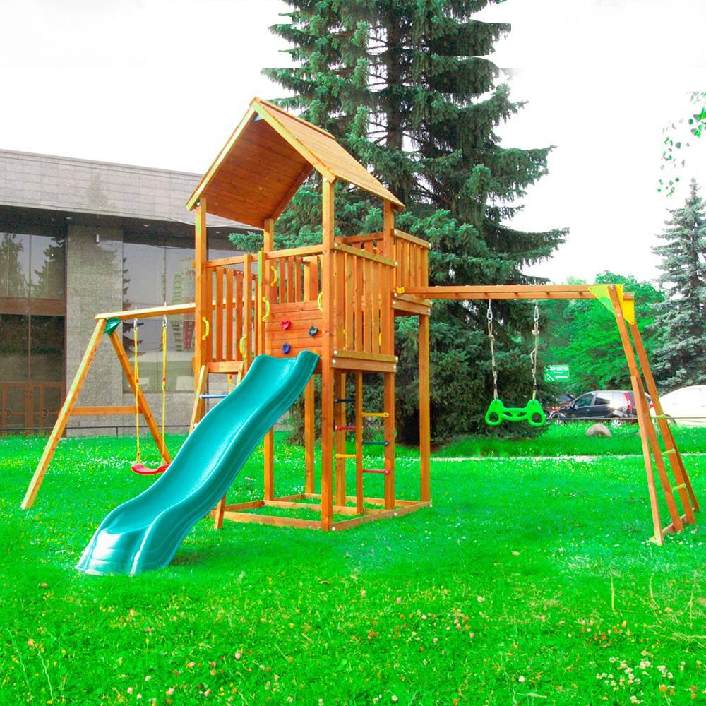 Детский городок Jungle Palace + Swing X'tra + рукоход c гимнастическими кольцами детский городок jungle cottage