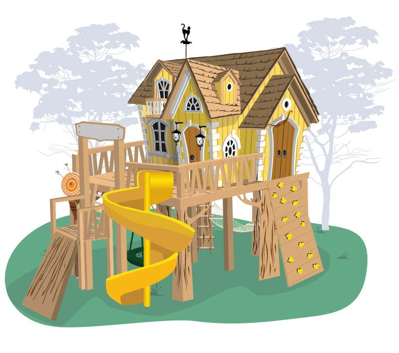 Детский игровой домик из дерева Crooked Рокси Массив дерева