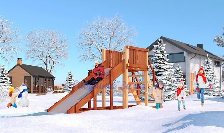 Савушка Зимняя деревянная игровая горка Зима - 2
