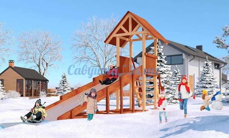 Савушка Зимняя деревянная игровая горка Зима - 5