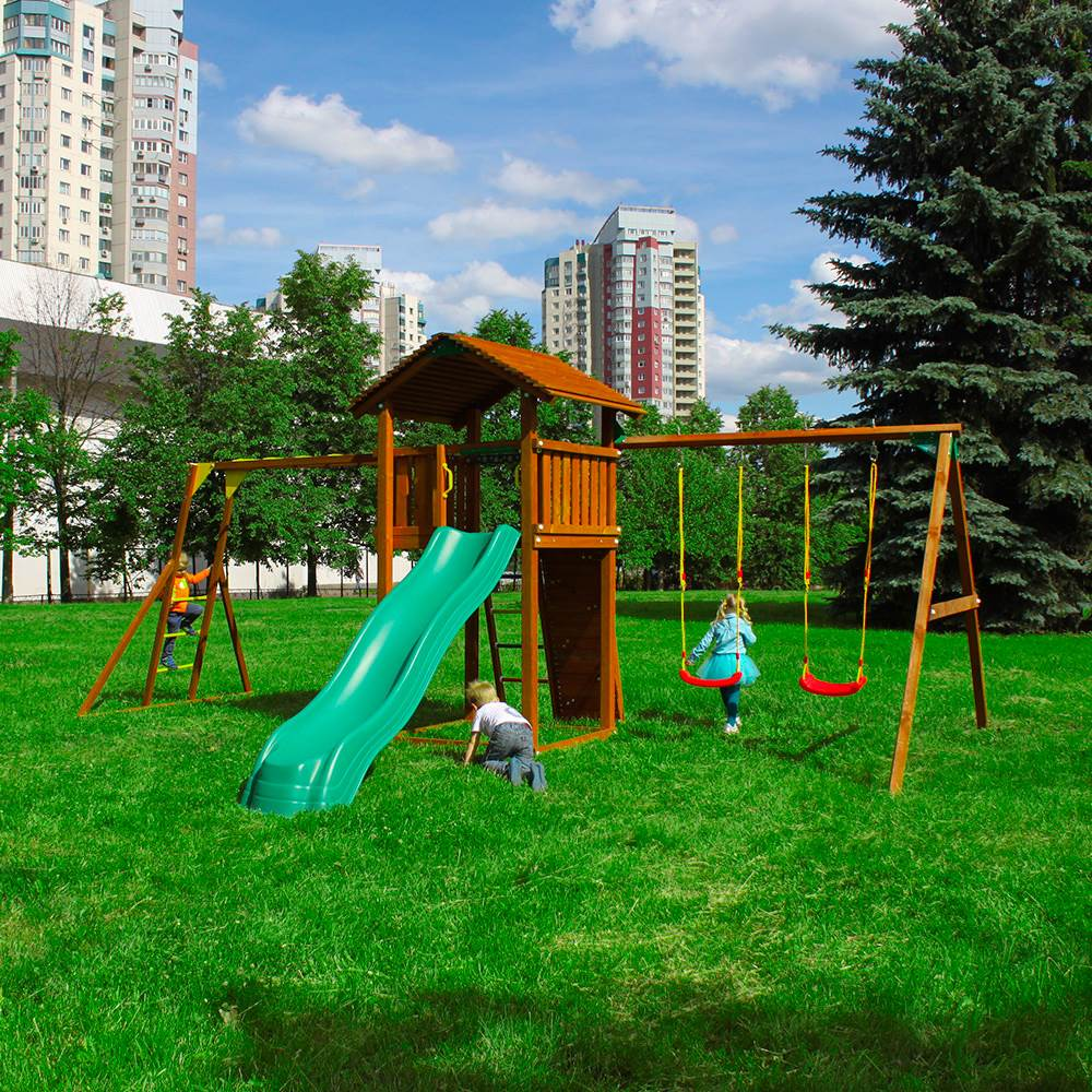 цена Jungle Gym Детский городок Jungle Cottage + SwingModule Xtra + Рукоход