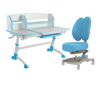 Комплект FunDesk Парта-трансформер Amare II с креслом Contento и прозрачной накладкой на парту 65х45
