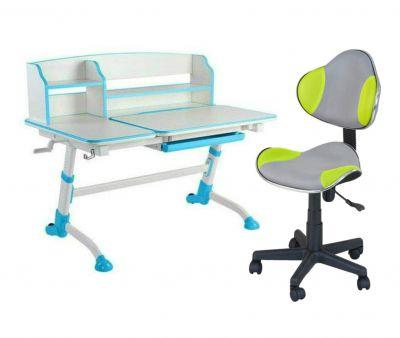 Комплект FunDesk Парта-трансформер Amare II с креслом LST3 и прозрачной накладкой на парту 65х45