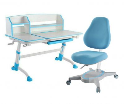 Комплект FunDesk Парта-трансформер Amare II с креслом Primavera I и прозрачной накладкой на парту 65х45