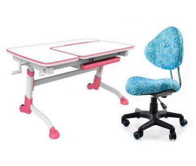 Комплект FunDesk Парта-трансформер Amare с креслом SST5 и прозрачной накладкой на парту 65х45