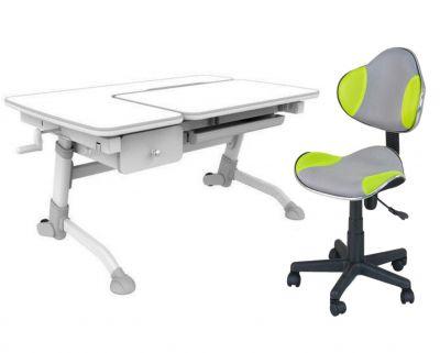 Комплект FunDesk Парта-трансформер Amare с ящиком с креслом LST3 и прозрачной накладкой на парту 65х45