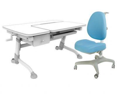 Комплект FunDesk Парта-трансформер Amare с ящиком с креслом Bello I и прозрачной накладкой на парту 65х45
