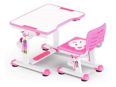 Регулируемые парты и стулья Mealux BD-09 Teddy МДФ Белый Розовый
