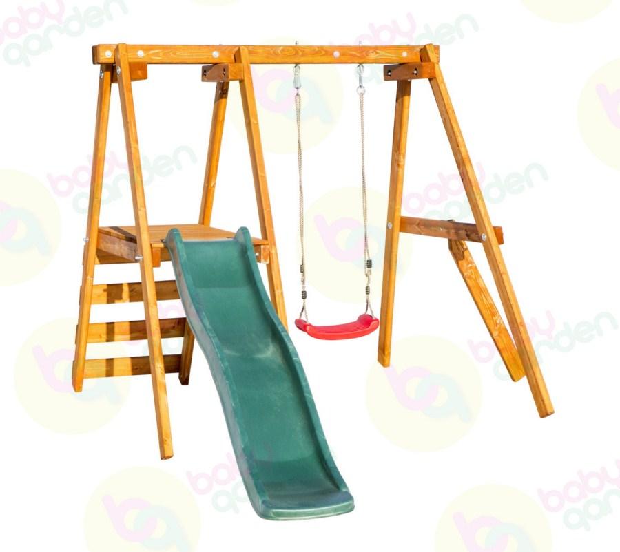 качели детские exit toys качели карусели Качели детские подвесные Babygarden Качели с горкой 1.8 м Массив дерева Сосна