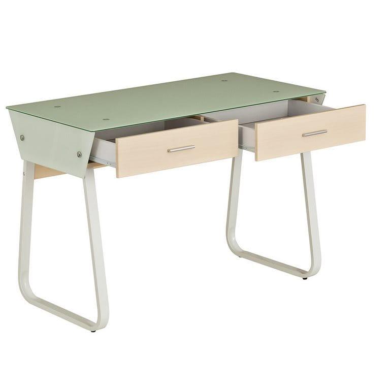 Стол для компьютера Rifforma CT-3311G Стекло / Металл Стекло Светлая вишня Белый в комплекте Подвесная тумба