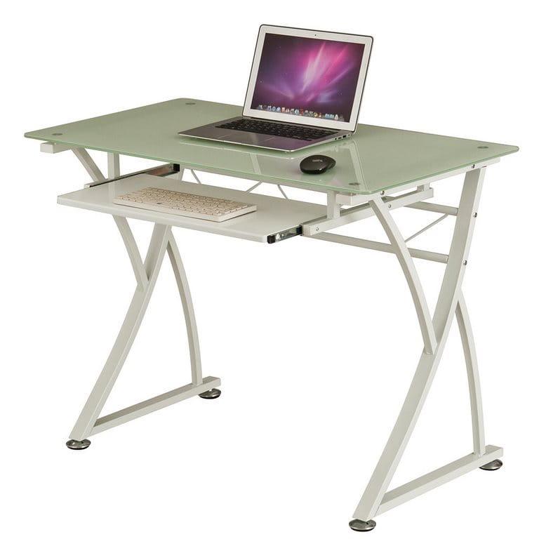 Стол для компьютера Rifforma CT-3506 Стекло / Металл Белое стекло Белый