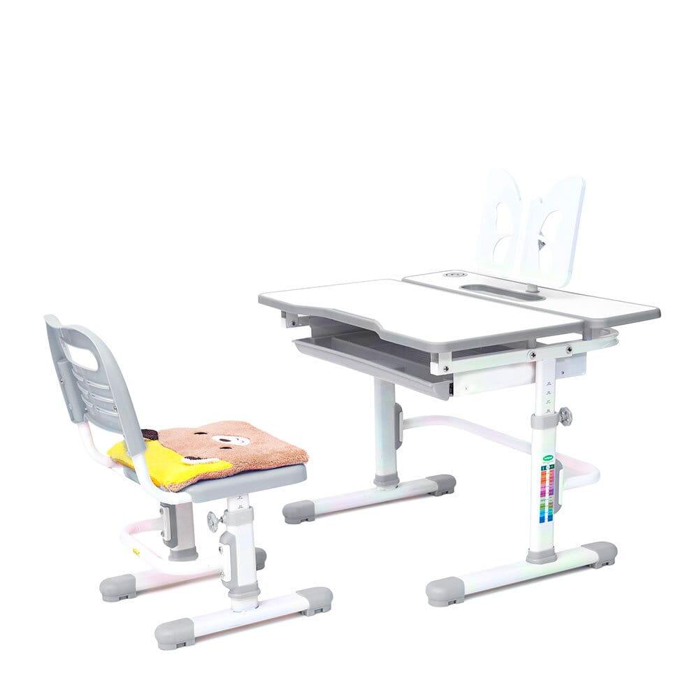 Купить со скидкой Комплект растущая парта и стул с чехлом Rifforma Comfort-07 Белый Белый Серый