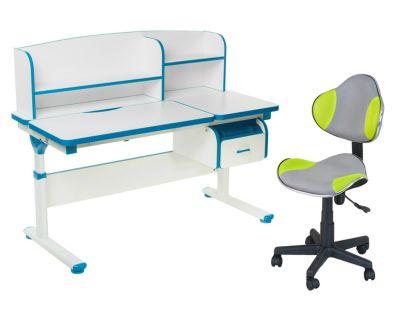 Комплект FunDesk Парта-трансформер Creare с креслом LST3 и прозрачной накладкой на парту 65х45
