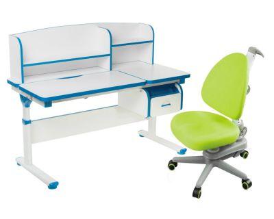 Комплект FunDesk Парта-трансформер Creare с креслом SST10 и прозрачной накладкой на парту 65х45