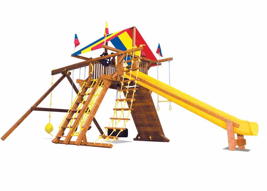 Фото - Детская игровая площадка Rainbow КингКонг Кастл II Тент Массив дерева Кедр бинокль