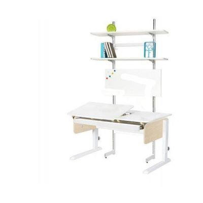 Комплект Астек Парта ЛИДЕР с выдвижным органайзером и стеллажом со стулом SF-3 и прозрачной накладкой на парту 65х45