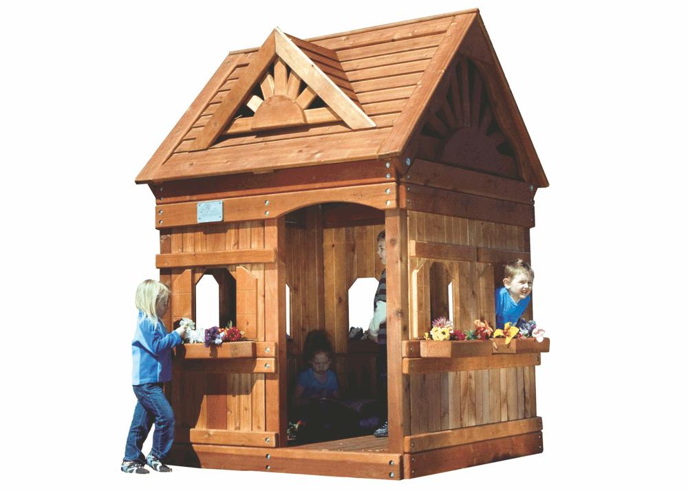 Детский игровой домик из дерева Rainbow Дизайн 1 Массив дерева Кедр