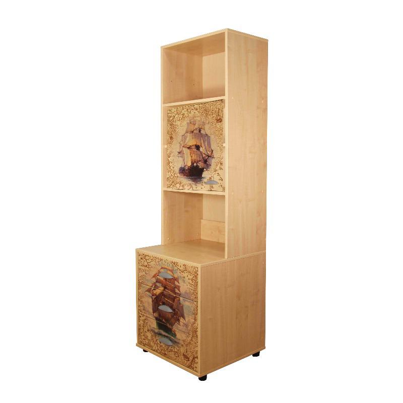 Шкафы и стеллажи Дэми Стеллаж закрытый с тумбой 3 ящика и рисунком ЛДСП Клен Фрегат