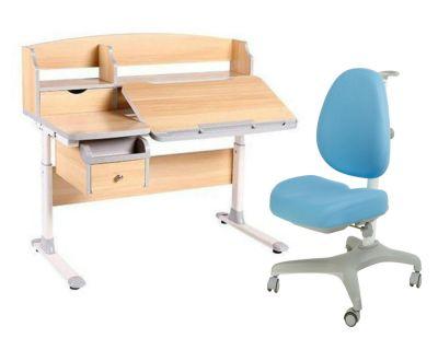 Комплект FunDesk Парта-трансформер Sognare с креслом Bello I и прозрачной накладкой на парту 65х45
