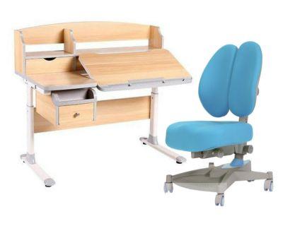 Комплект FunDesk Парта-трансформер Sognare с креслом Contento и прозрачной накладкой на парту 65х45