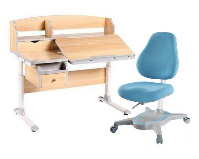 Комплект FunDesk Парта-трансформер Sognare с креслом Primavera I и прозрачной накладкой на парту 65х45