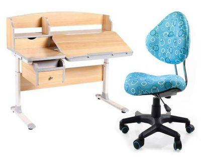 Комплект FunDesk Парта-трансформер Sognare с креслом SST5 и прозрачной накладкой на парту 65х45