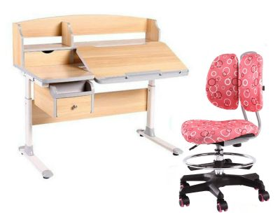 Комплект FunDesk Парта-трансформер Sognare с креслом SST6 и прозрачной накладкой на парту 65х45
