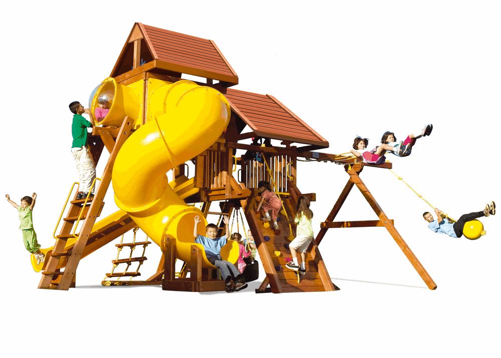 Фото - Детская игровая площадка Rainbow Саншайн Кастл Спиральная Горка Делюкс ДК Массив дерева Кедр бинокль