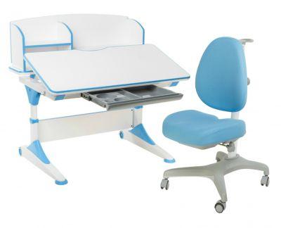 Комплект FunDesk Парта-трансформер Trovare с надстройкой с креслом Bello I и прозрачной накладкой на парту 65х45