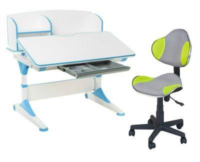Комплект FunDesk Парта-трансформер Trovare с надстройкой с креслом LST3 и прозрачной накладкой на парту 65х45
