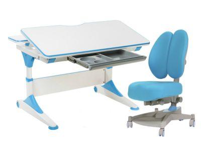 Комплект FunDesk Парта-трансформер Trovare с креслом Contento  и прозрачной накладкой на парту 65х45