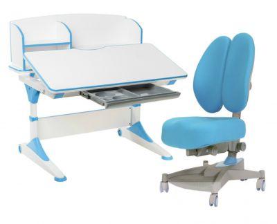 Комплект FunDesk Парта-трансформер Trovare с надстройкой с креслом Contento  и прозрачной накладкой на парту 65х45