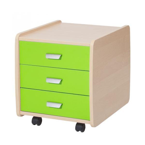 Тумба Лидер береза на 3 ящика с цветными фасадами астек стеллаж для парты лидер