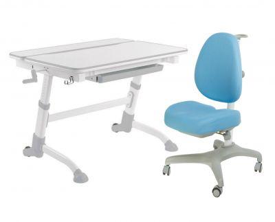 Комплект FunDesk Парта-трансформер Volare с креслом Bello I и прозрачной накладкой на парту 65х45
