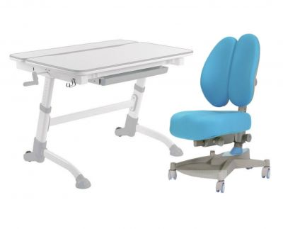 Комплект FunDesk Парта-трансформер Volare с креслом Contento и прозрачной накладкой на парту 65х45