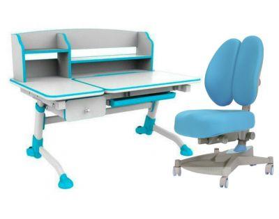 Комплект FunDesk Парта-трансформер Amare II с ящиком с креслом Contento и прозрачной накладкой на парту 65х45