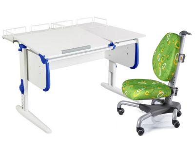Комплект ДЭМИ Парта СУТ-25-01 WHITE DOUBLE с раздельной столешницей с креслом Nobel и прозрачной накладкой на парту 65х45