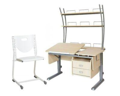 Комплект Астек Парта ТВИН-2 с надстройкой и тумбой со стулом SF-3 и прозрачной накладкой на парту 65х45