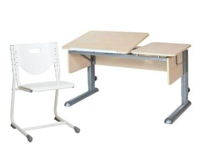 Комплект Астек Парта ТВИН-2 со стулом SF-3 и прозрачной накладкой на парту 65х45