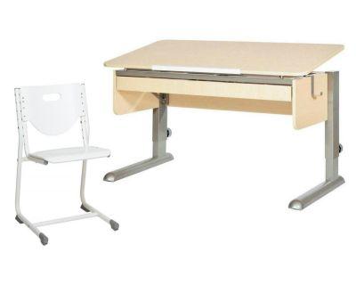 Комплект Астек Парта МОНО-2 с органайзером со стулом SF-3 и прозрачной накладкой на парту 65х45