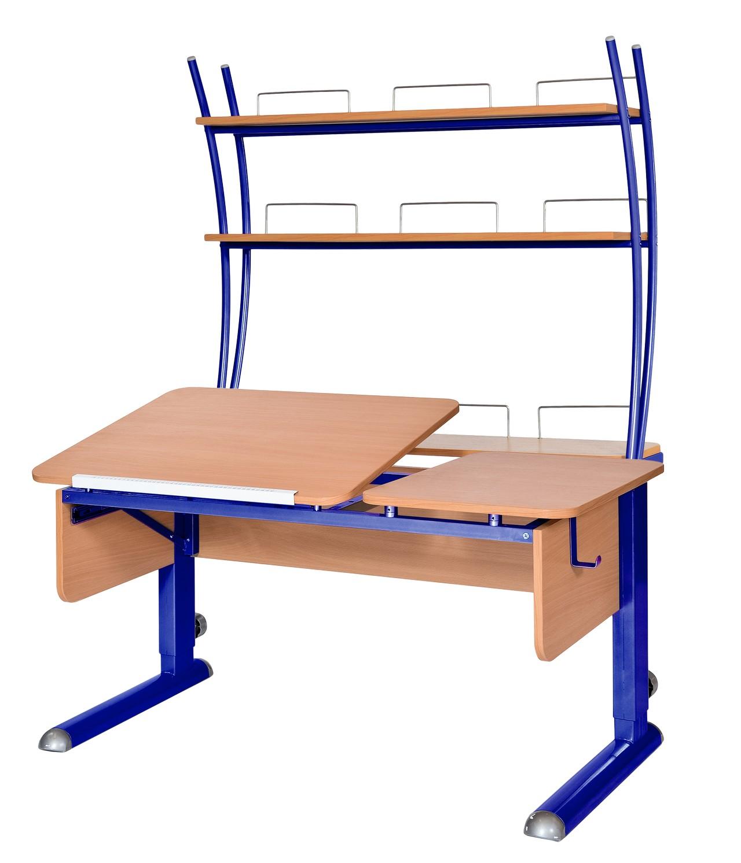 Домашняя парта Астек ТВИН-2 с надстройкой ЛДСП Бук Синий столы и стулья астек стол твин 2 столешница бук