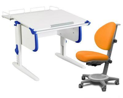 Комплект ДЭМИ Парта WHITE СТАНДАРТ СУТ-24-01 с креслом Cambridge и прозрачной накладкой на парту 65х45