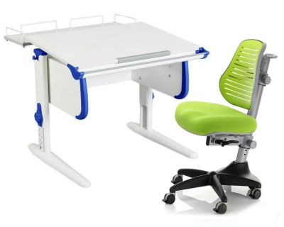 Комплект ДЭМИ Парта WHITE СТАНДАРТ СУТ-24-01 с креслом Conan и прозрачной накладкой на парту 65х45