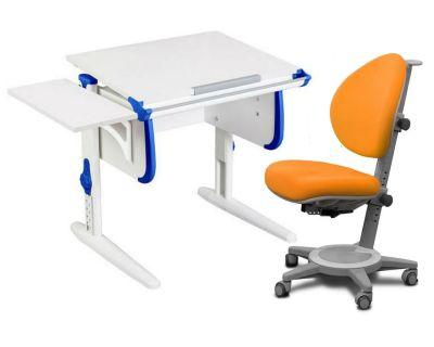 Комплект ДЭМИ Парта WHITE СТАНДАРТ СУТ-24К с креслом Cambridge и прозрачной накладкой на парту 65х45
