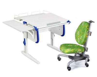 Комплект ДЭМИ Парта WHITE СТАНДАРТ СУТ-24-02 с креслом Nobel и прозрачной накладкой на парту 65х45
