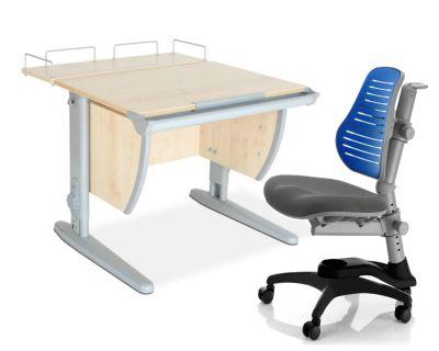 Комплект ДЭМИ Парта СУТ-14-01 75х55 см с задней приставкой с креслом Oxford C3 и прозрачной накладкой на парту 65х45